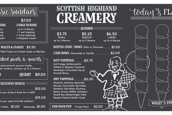 Our new menu board! Scottish Highland Creamery