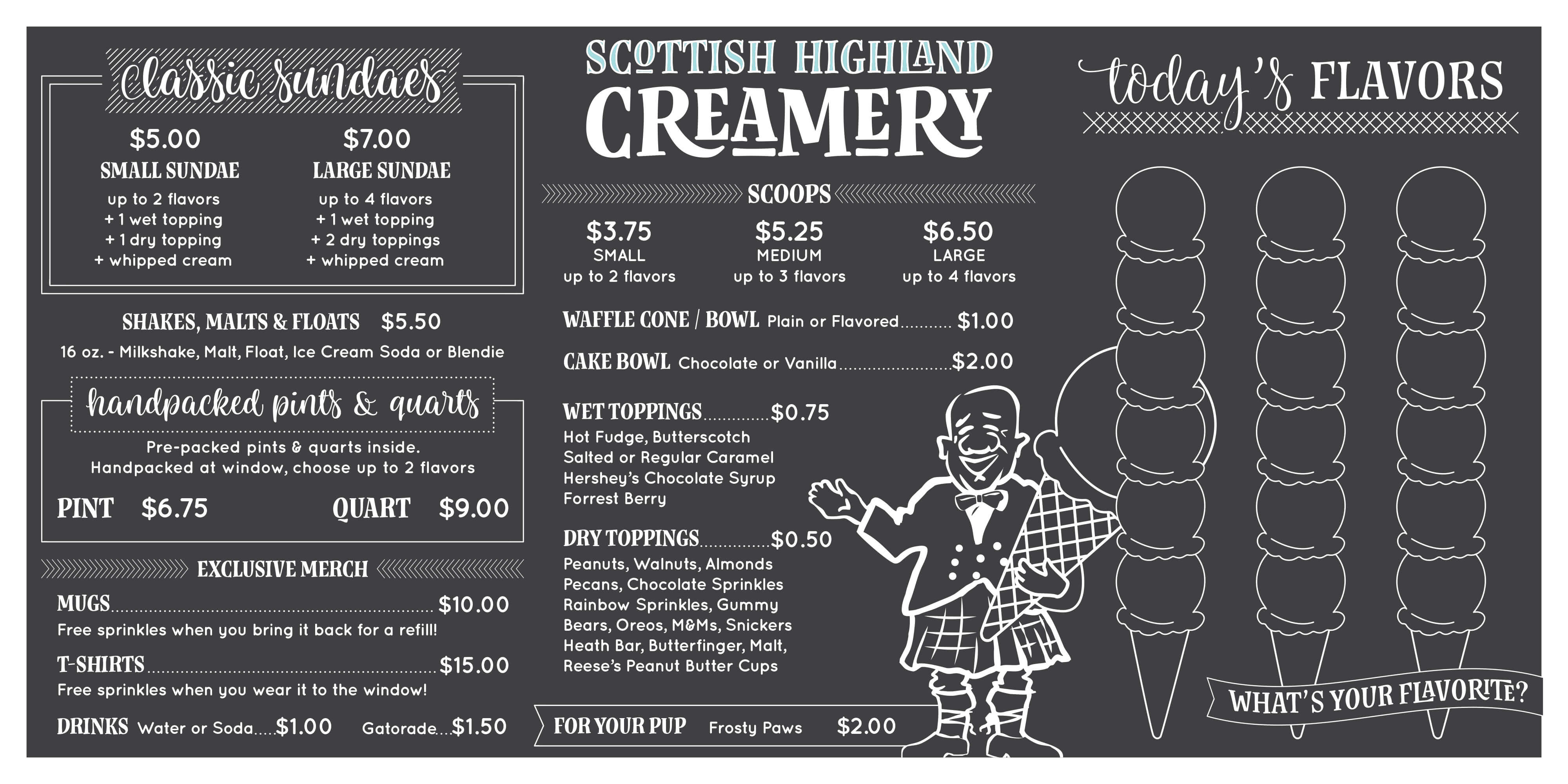 Our new menu board! Scottish Highland Creamery